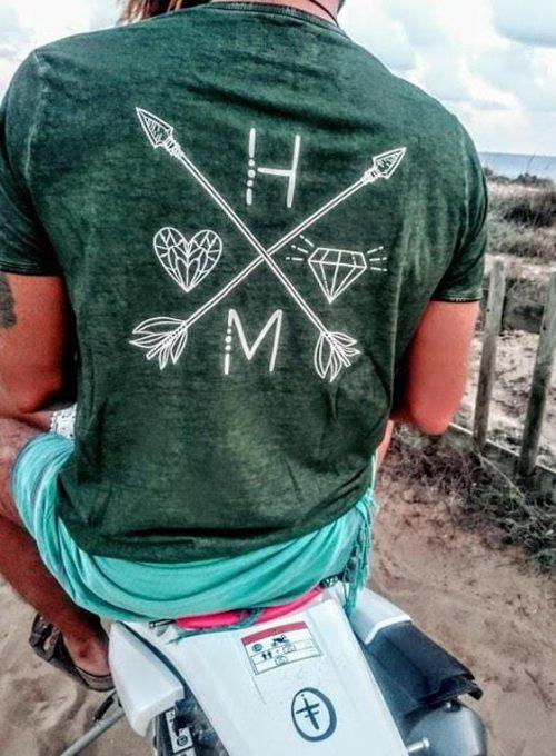 Bedrucktes Vintage T-Shirt mit Brandlogo im Boholook in 2 Farben ab 35,-